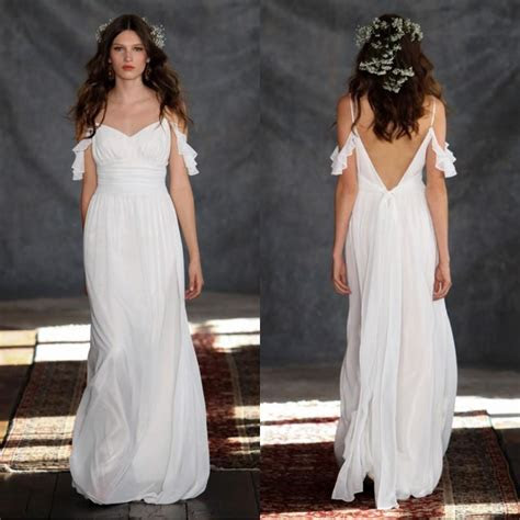 2015 Beach Casual Wedding Dresses Open Back Cheap Bridal