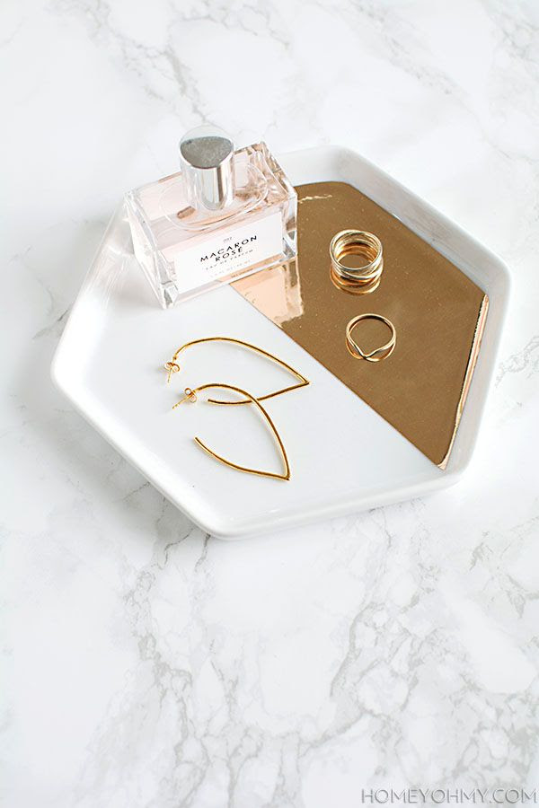 Le Fashion Blog DIY Mirrored Gold Jewelry Dish Hexagon Ring Plate Marble Counter Rose Perfume Gold Earrings Via Homey Oh My