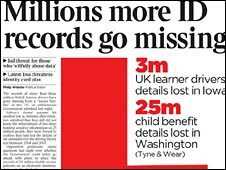 Newspaper headline about data losses