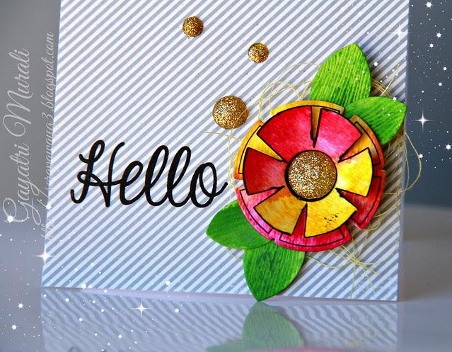 Hello card close up