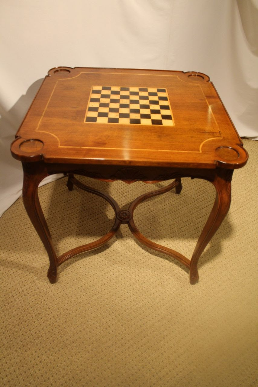 French Louis XV Antique Walnut Square Game Table with Checkered ...