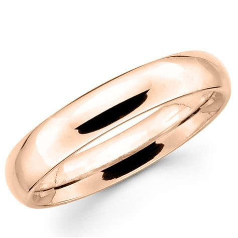 14K Solid Rose Gold 4mm Plain Men's and Women's Wedding