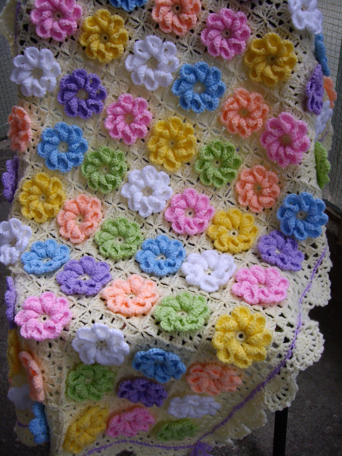 Granny Square Crochet Blanket ... Baby Crib Blanket ... Colorful Knitting Patchwork Baby Afghan ...