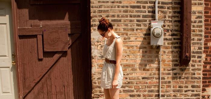 dashdotdotty dash dot dotty brick wall outfit post white dress and big belt