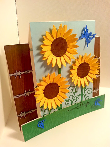 My very first step card, that I made with dies from Cherry Lynn Designs, which I got for my birthday.