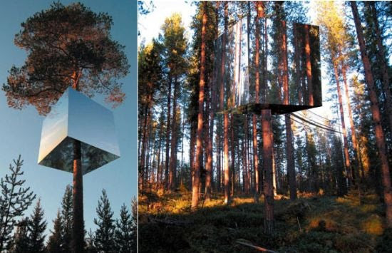 Mirrored Treehouse Hotel Makes You Invisible in the Forest