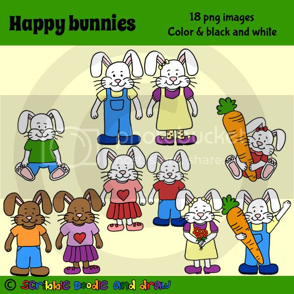 Happy bunny clip art for commercial use