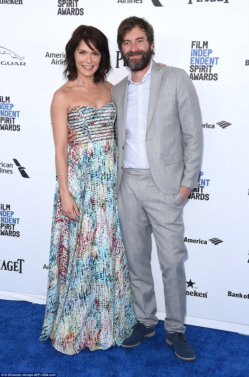 Coupled up: Katie Aselton and Mark Duplas were arm in arm for the annual awards show