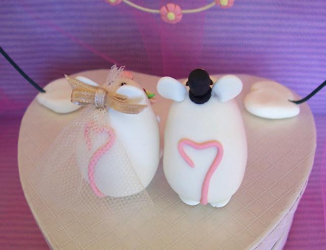 Customcute white mice wedding cake toppers topolini statuine per torte