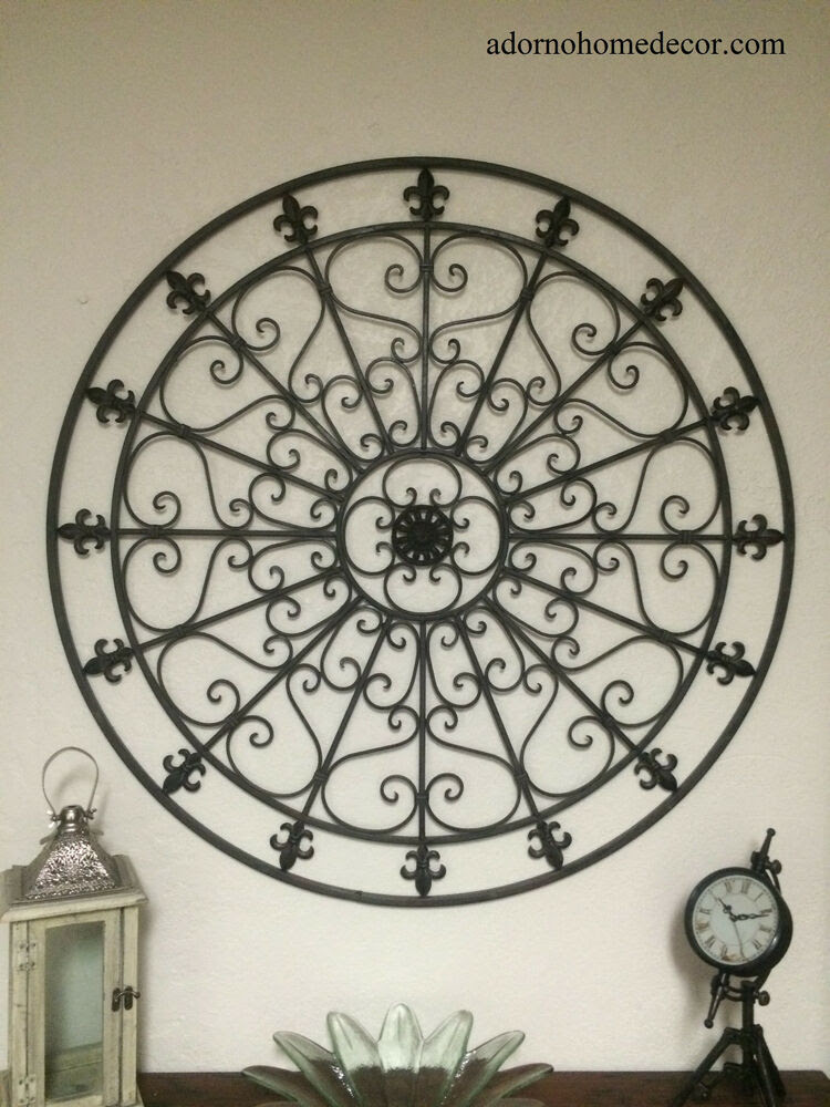 Large Round Wrought Iron Wall DECOR Rustic Scroll Fleur De ...