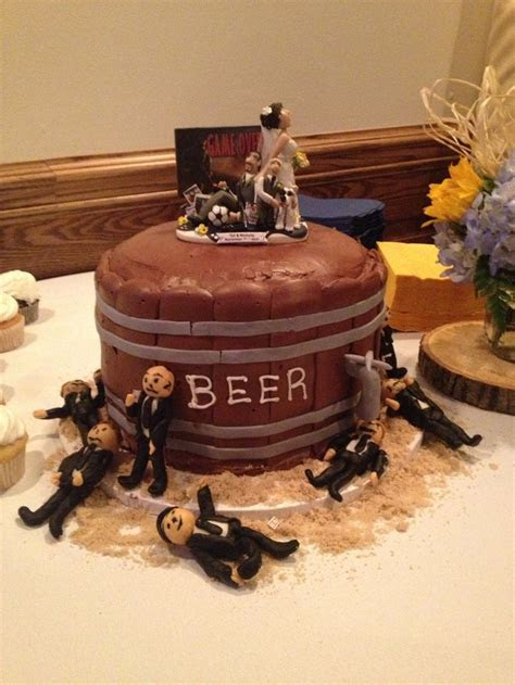 Groom's cake   beer keg and fondant groomsmen with a