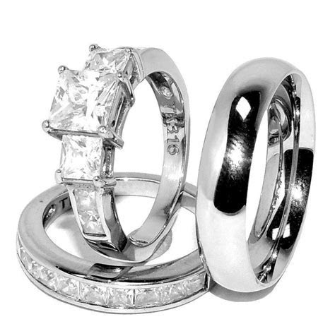 3 PCS Stainless Steel His & Her Engagement/Wedding
