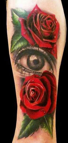 Red Roses And Amazing Eye Tattoo On Arm Tattoomagz