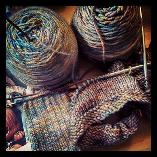Think I like these colors? #MadColorFiberArts Canyon on left #malabrigo Piedras on right #knitstagram #knitting