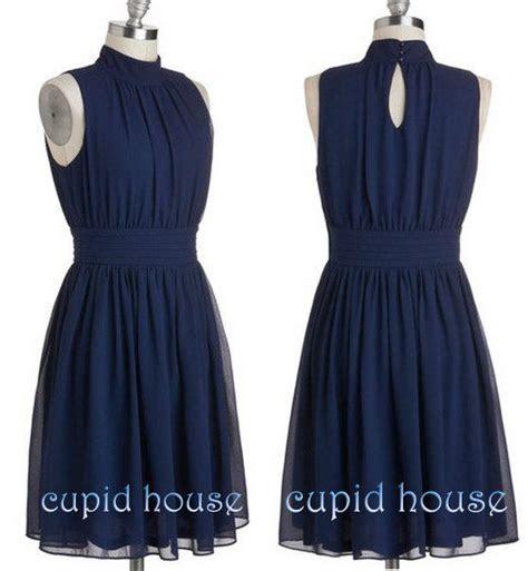 Short Navy Blue Bridesmaid Dress, Halter Sleeveless