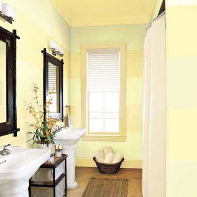 4. Enlarge a Bath with Sideways Stripes | 15 Decorative Paint