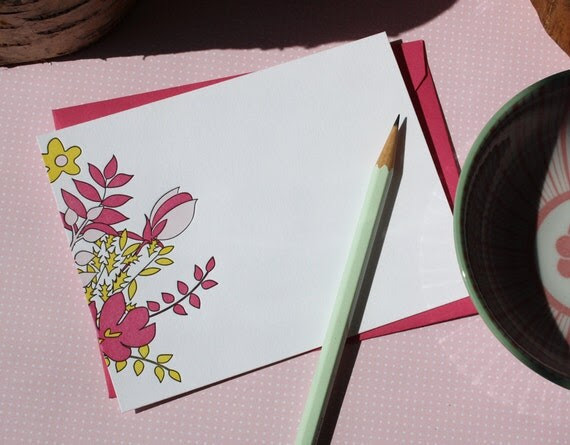 Letterpress Notecard Set - Colorful Bouquet