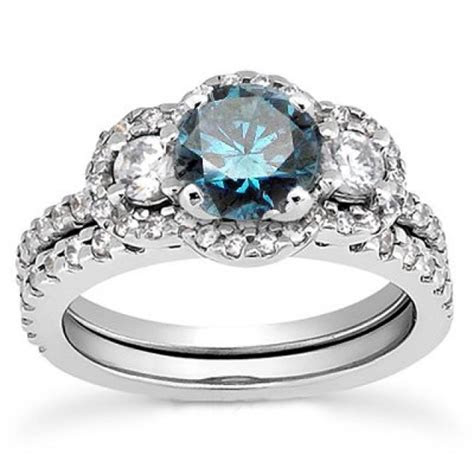 1.75CT 3 Stone Blue Diamond Engagement Ring Matching