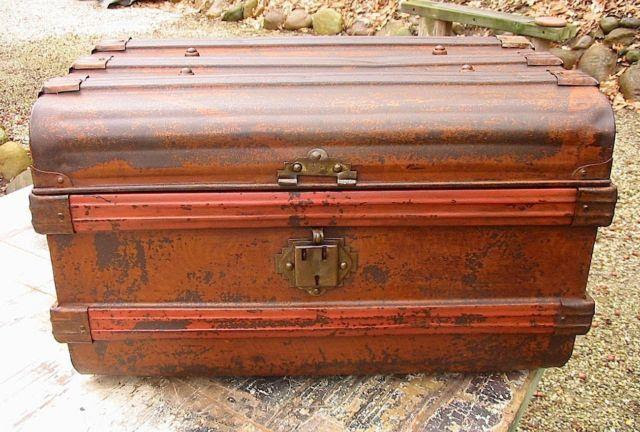 Antique Unusual Red Metal Flat Top Steamer Travel Trunk for
