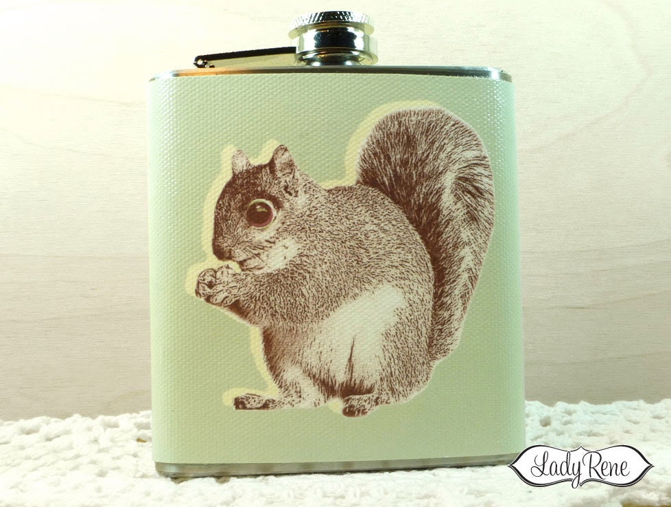 Squirrel with Acorn 6oz Hip Flask - Accessories - Sage LR121 - LadyRene