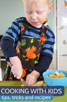 Cooking with kids - tips tricks and recipe ideas including Jam Swirls, Pita Chips, Pizza Pasta Bake, Chicken Mushroom and Broccoli Pasta, Face Biscuits, Rhubarb Fizz Drink, Banana and Choc-chip Muffins, Berry Icy-poles, Easy Oat Cookies, Oat Breakfast Muffins