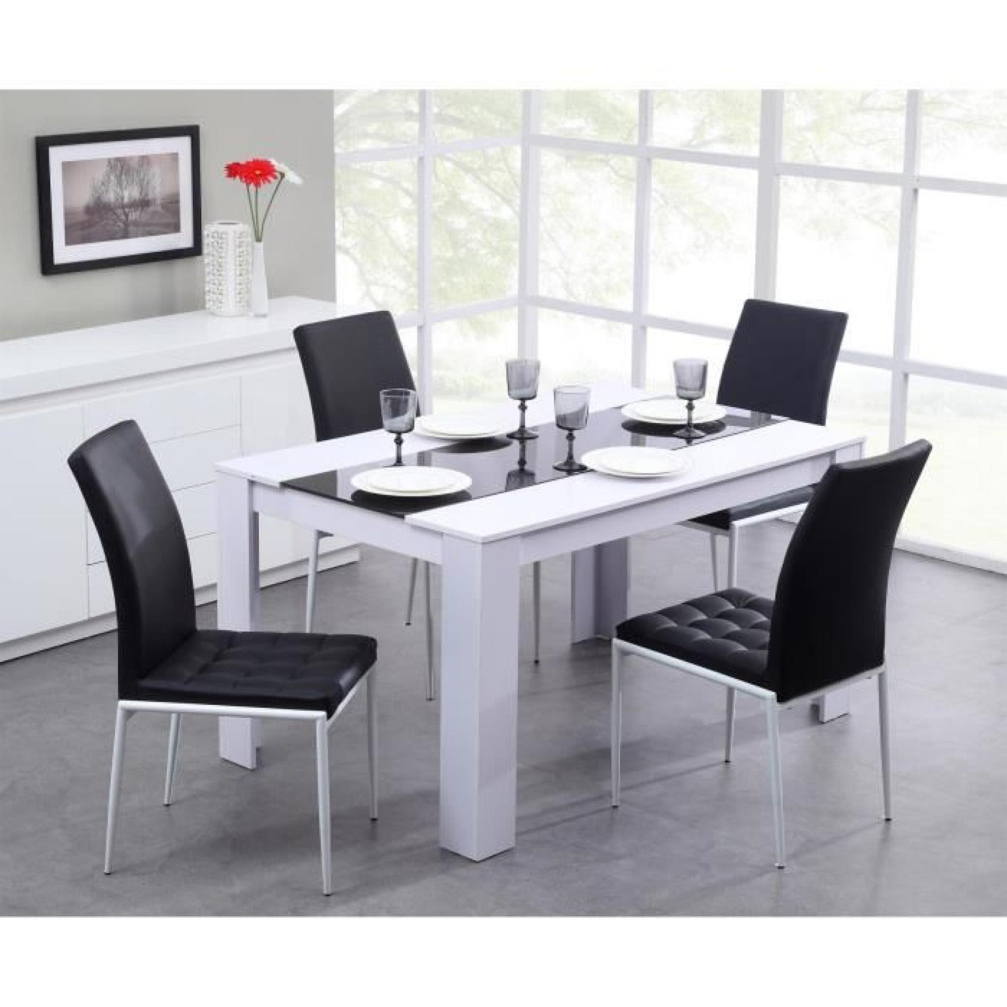 Damia Table à Manger 140x90cm Noir Et Blanc