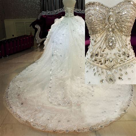 2015 Corset Crystal Ball Gown Bling Wedding Dresses