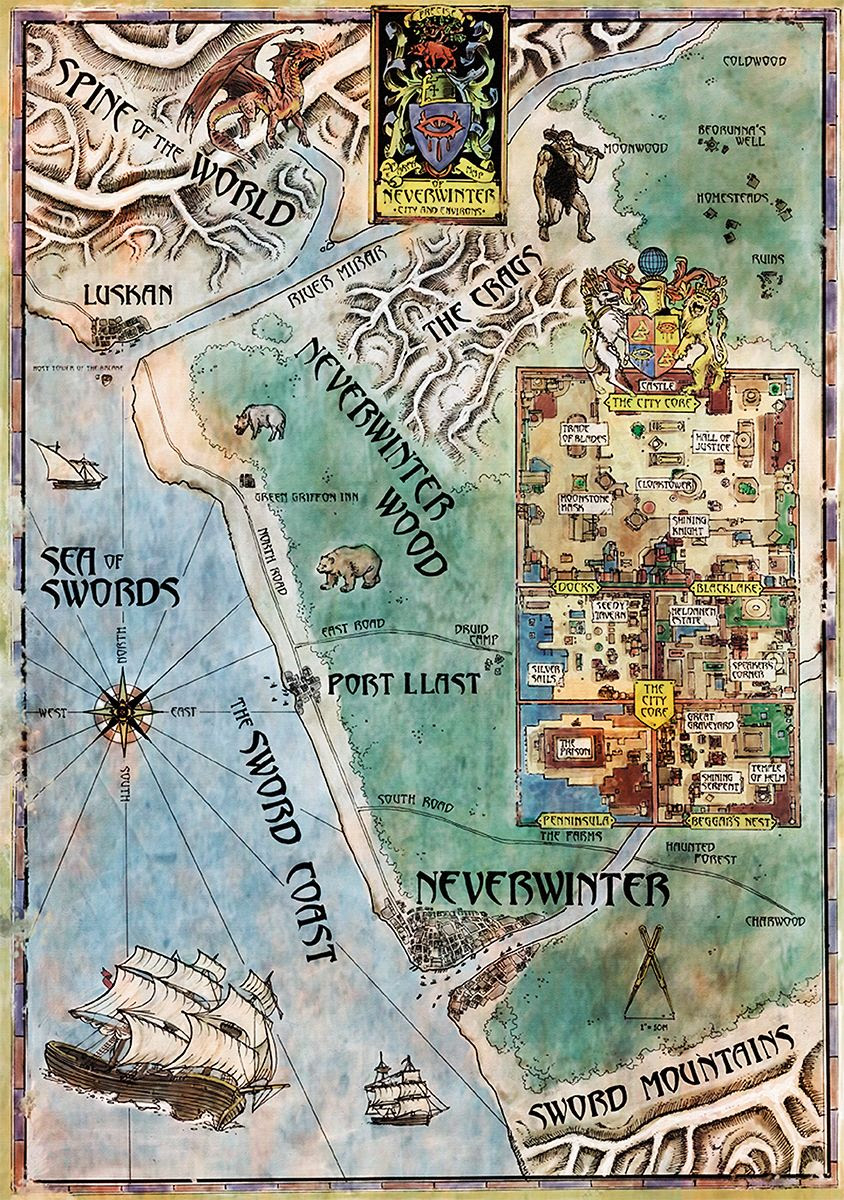 Neverwinter Nights Map N S E W Fantasy World Map