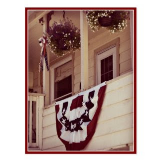 Patriotic American Porch Veterans Day Postcard