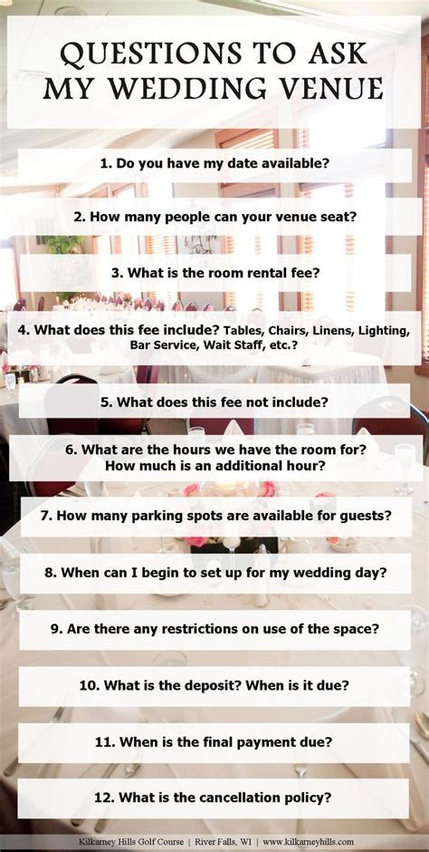 Questions to Ask Your Wedding Venue   Wedding Planning
