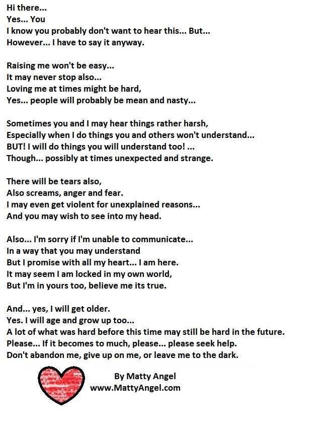 Hi There Important Poem Autism Disabilities Special Needs