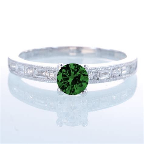 1.5 Carat Round cut Vintage Emerald and Diamond Engagement
