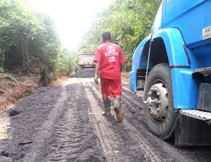 estrada de acesso ao Ct do Sport (Foto: Edgard Maciel)