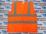 Áo phản quang vải lưới màu cam, 2 sọc ngang, 2 sọc vắt vai màu xám, phản quang 3M loại thường - MK