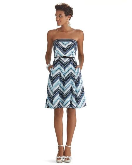 Strapless Stripe Fit & Flare Dress