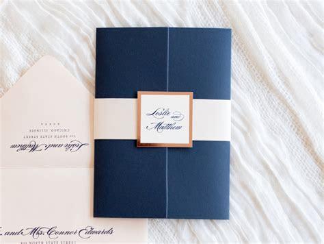 elegant & formal wedding invitation in navy blue, blush