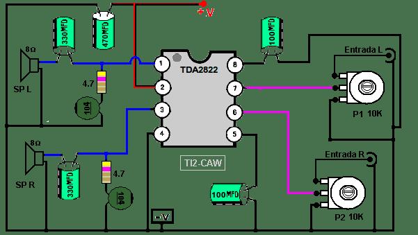amplificador tda2822m 8 pines