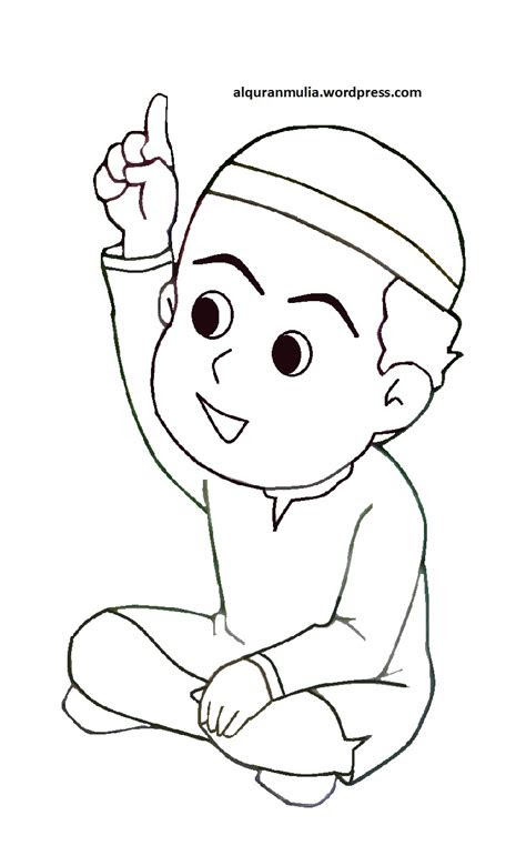 Koleksi 820  Gambar Animasi Anak Muslim Hitam Putih HD Free