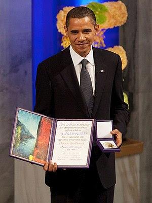 English: President Barack Obama with the Nobel...