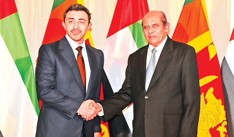 United Arab Emirates (UAE)Foreign Affairs and International Cooperation Minister Sheikh Abdullah bin Zayed Al Nahyan meeting Foreign Affairs Minister Tilak Marapana.
