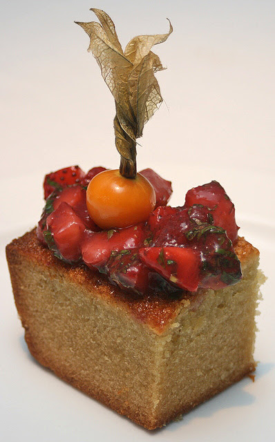 Pistachio Financier with Strawberry Salsa & Mint