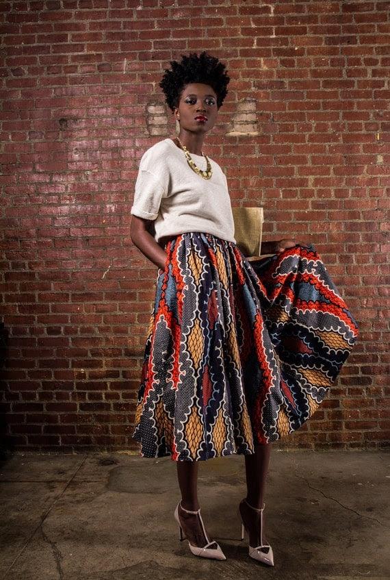 NEW The Shavon -[African Print 100% Holland Wax Cotton Midi Skirt]