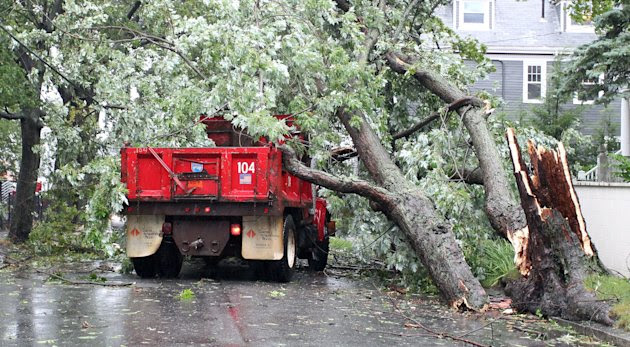 A Providence City truck was struck by a falling tree from the winds of Tropical Storm Irene in Providence, R.I., Sunday, Aug. 28, 2011. The worker was taken to a local hospital.  Irene was to continue