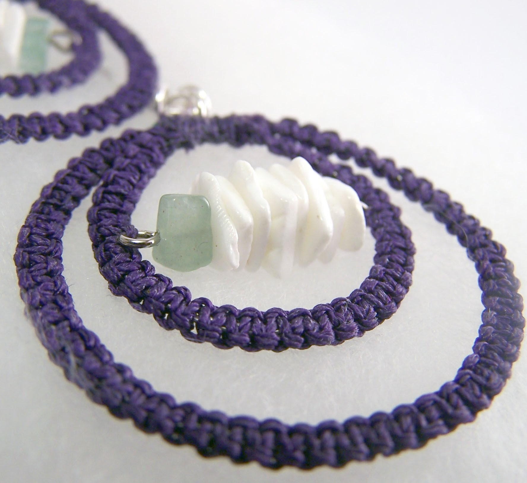 Tangent in Purple- Macrame Earrings with Shell and Aventurine Accents