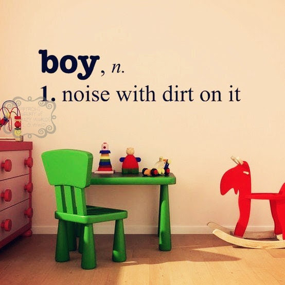 Boy, n. 1. noise with dirt on it - Choose any color (all in the same color)- VINYL LETTERING DECAL