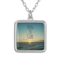 Inspirational Christian Quote Run to God Pendants