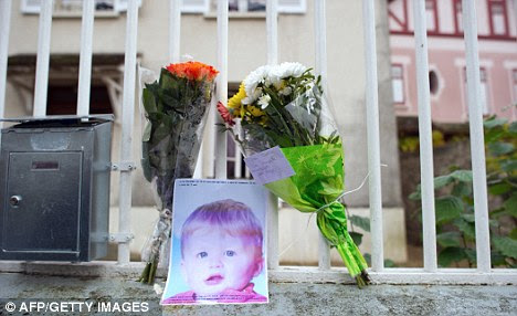 Flowers left outside the property where Bastien lived his short life