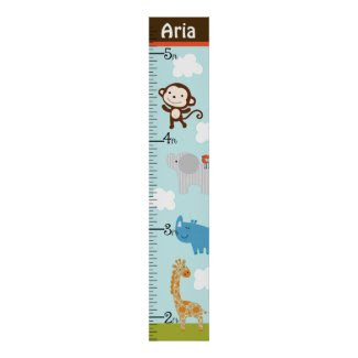 Personalized Wildlife Jungle Animal Growth Chart Posters