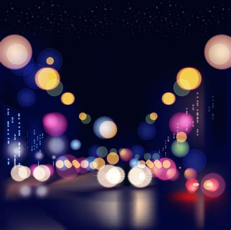 City night colored halation background vector graphics 05