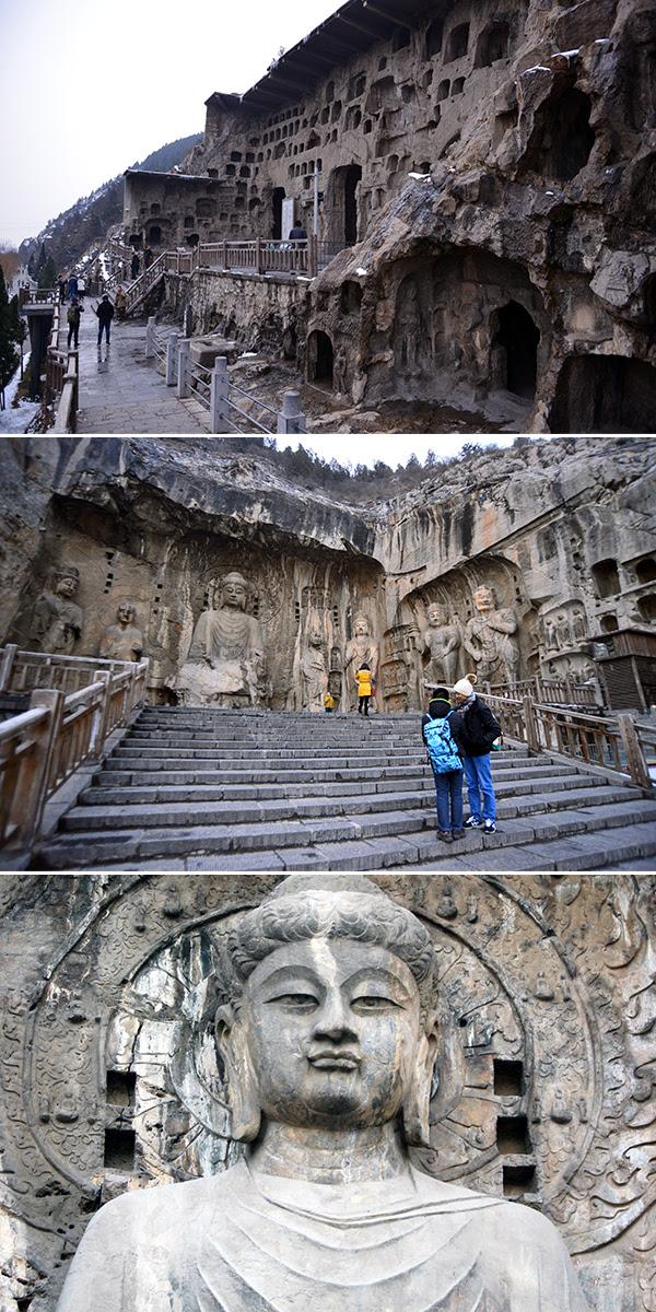 룽먼석굴의 명소인 빈양동(상) 가장 큰 마애석각(중) 마애석각의 얼굴(하).